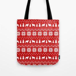 Borzoi Silhouettes Christmas Sweater Pattern Tote Bag