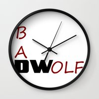 bad wolf Wall Clocks featuring Bad Wolf by DocPastor