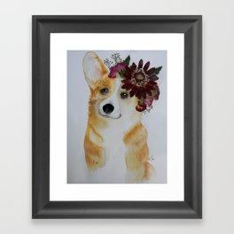 Corgi in Crown Framed Art Print