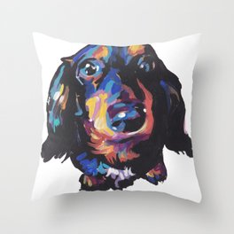 Dachshund Dog bright colorful Doxie Portrait Pop Art Painting by LEA Throw Pillow
