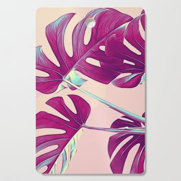 Monstera Leaves Violet Cutting Board