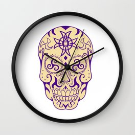 Mexican Skull  With Triskele and Celtic Cross Tattoo Wall Clock