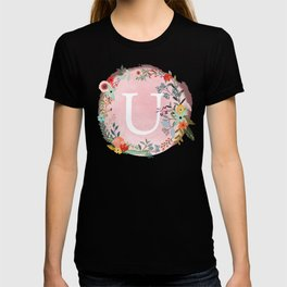 Flower Wreath with Personalized Monogram Initial Letter U on Pink Watercolor Paper Texture Artwork T-shirt