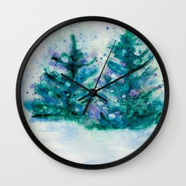Holidaze Winter Trees watercolor with SnowFlakes Wall Clock