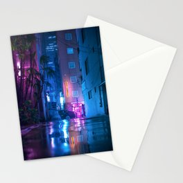 Neon Light Reflection on the rainy streets of Tokyo Stationery Cards