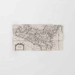 Vintage Map of Sicily Italy (1764) Hand & Bath Towel