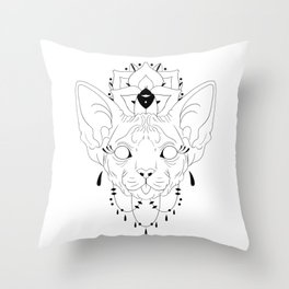 Mandala Sphynx Throw Pillow
