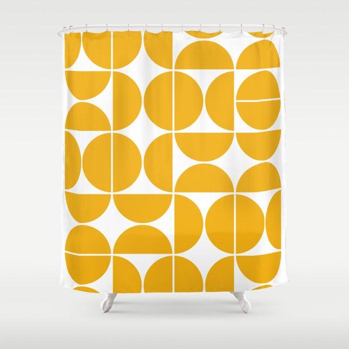 Mid Century Modern Geometric 04 Yellow Duschvorhang