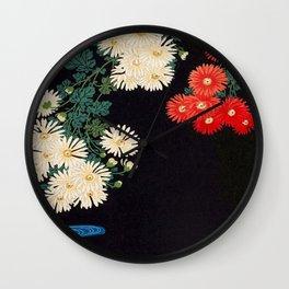 Ohara Koson Chrysanthemums and Running Water 1931 Japanese Woodblock Print Vintage Historical Wall Clock