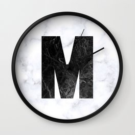 Black Marble Initial Monogram Letter M Wall Clock