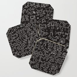 Doodles Homage to Keith Haring Black Coaster
