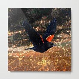 Wild Redwing Blackbird Metal Print