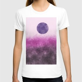 Pink landscape with purple moon T-shirt