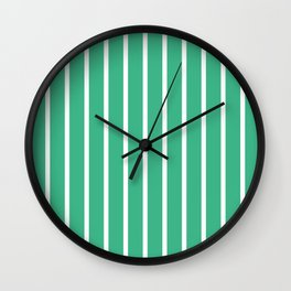 Vertical Lines (White/Mint) Wall Clock