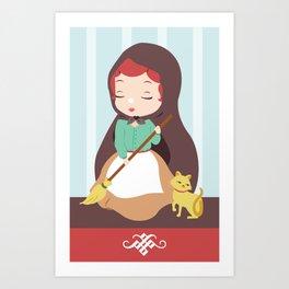 Porcelain Girl (Redhead) Art Print