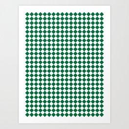 White and Cadmium Green Diamonds Art Print