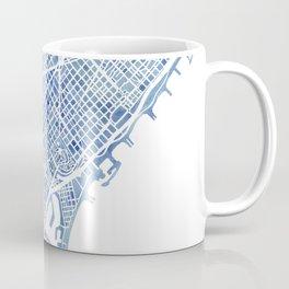 Barcelona Blueprint Watercolor City Map Coffee Mug
