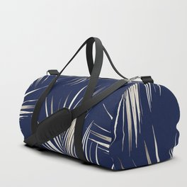 White Gold Palm Leaves on Navy Blue Duffle Bag