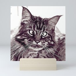 squinting maine coon cat vector art white Mini Art Print
