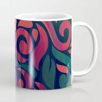 vintage floral Mugs featuring VINTAGE FLORAL by Julia Tomova