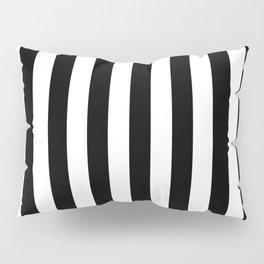 Narrow Vertical Stripes - White and Black Pillow Sham