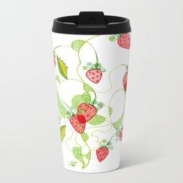 Patterned Strawberries Metal Travel Mug