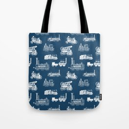 Antique Steam Engines // Navy Blue Tote Bag