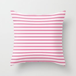 Bright Pink Peacock Mattress Ticking Wide Striped Pattern - Fall Fashion 2018 Throw Pillow