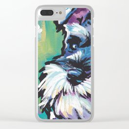 Fun Schnauzer Dog Portrait bright colorful Pop Art Painting by LEA Clear iPhone Case