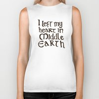 lotr Biker Tanks featuring I Left My Heart in Middle Earth by Leah Flores