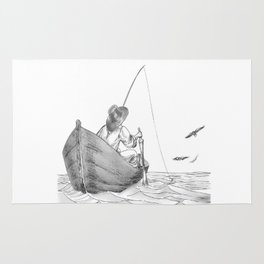 man fishing Rug