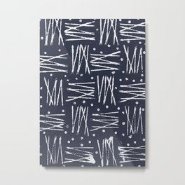 Abstract Pattern (Navy & White) Metal Print