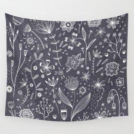 Chalkboard Flowers Wall Tapestry