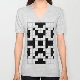 Cool Crossword Pattern Unisex V-Neck