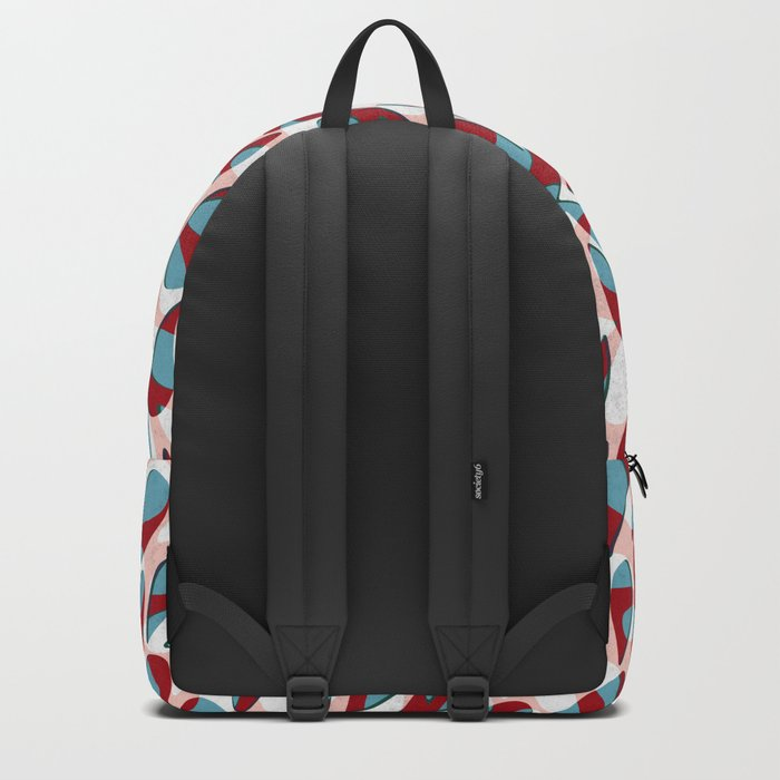 Organic Petals Pattern Red Blue Backpack