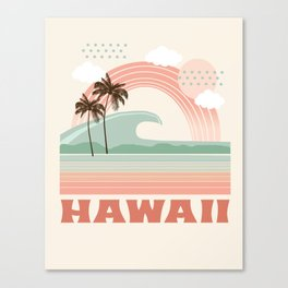 Hawaii - tubular 70s retro minimal vacation tropical usa state art wave ocean summer 1970s Canvas Print