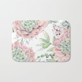 Pink Succulents by Nature Magick Bath Mat