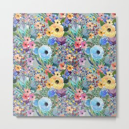 Flowers Garden Pattern Metal Print