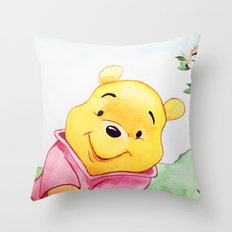 Winnie the Pooh, watercolor Throw Pillow