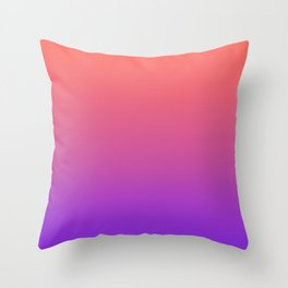 Gradient Ombre Living Coral Proton Purple Pattern Orange Peach Neon Ultra Violet Soft Trendy Texture Throw Pillow