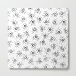 White Fat Flower All Over Pattern Metal Print