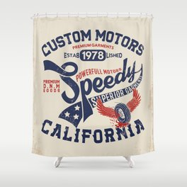 Custom motors california graphic Shower Curtain