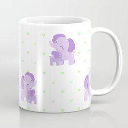 Elephants - Purple with Green Hearts Coffee Mug