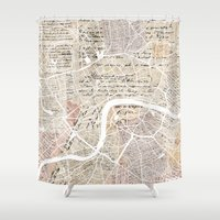 london map Shower Curtains featuring London map by Mapsland