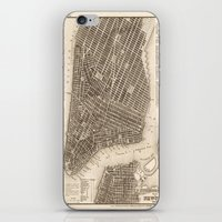 new york map iPhone & iPod Skins featuring New York Map by Le petit Archiviste