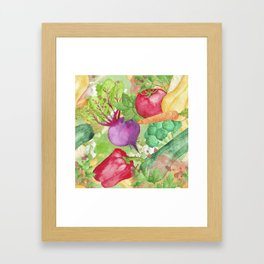 Mixed Vegetables Watercolor Framed Art Print