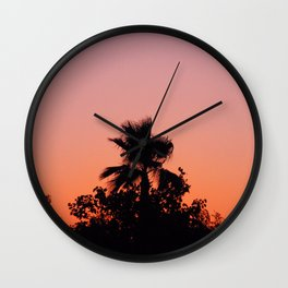 Palm Trees on Purple Wall Clock