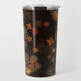 Orange & brown floral pattern Travel Mug