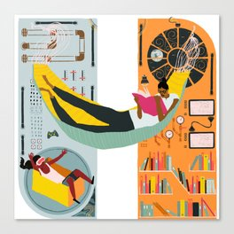 Reading on a spaceship Canvas Print