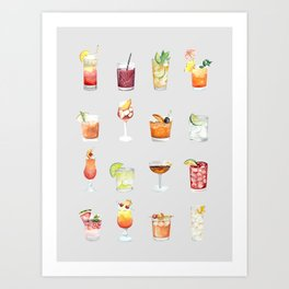 Classic Watercolor Cocktails Drinks Art Print